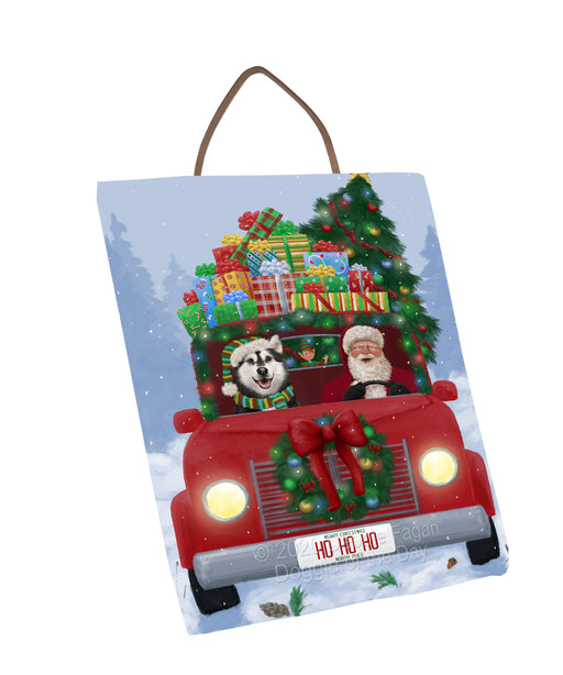 Christmas Honk Honk Red Truck Here Comes with Santa and Alaskan Malamute Dog Wall Décor Hanging Photo Slate SLTH58208