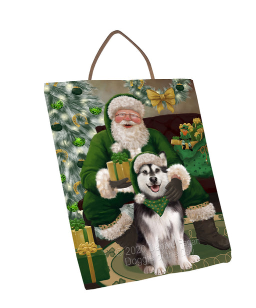 Christmas Irish Santa with Gift and Alaskan Malamute Dog Wall Décor Hanging Photo Slate SLTH58306