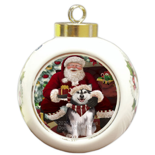Santa's Christmas Surprise Alaskan Malamute Dog Round Ball Christmas Ornament RBPOR57994