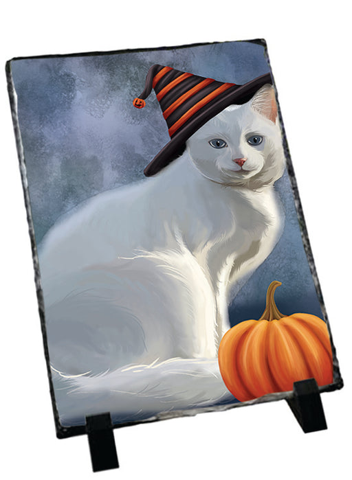 Happy Halloween Albino Cat Wearing Witch Hat with Pumpkin Sitting Photo Slate SLT54694