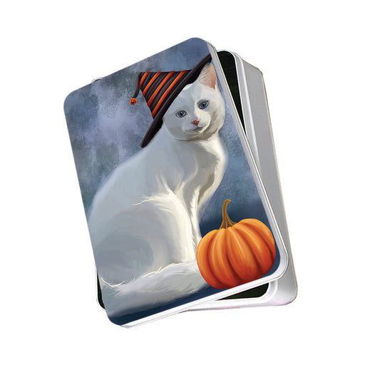 Happy Halloween Albino Cat Wearing Witch Hat with Pumpkin Photo Storage Tin PITN54726