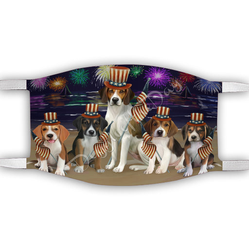 4th of July Independence Day American English Foxhound Dogs Face Mask FM49365