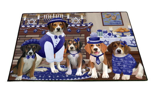 Happy Hanukkah Family American English Foxhound Dogs Floormat FLMS55543