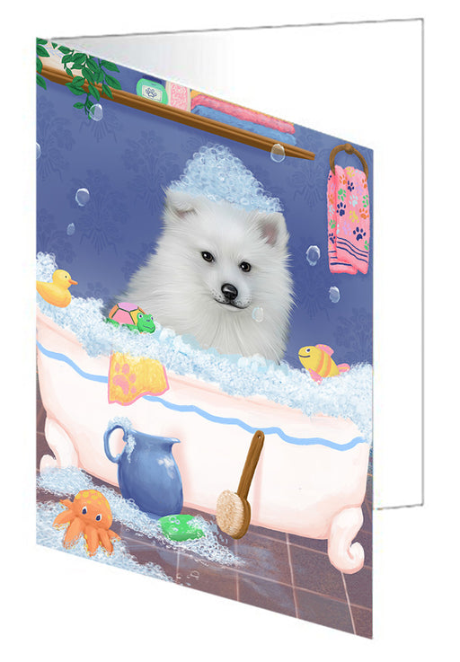 Rub A Dub Dog In A Tub American Eskimo Dog Note Card NCD79178