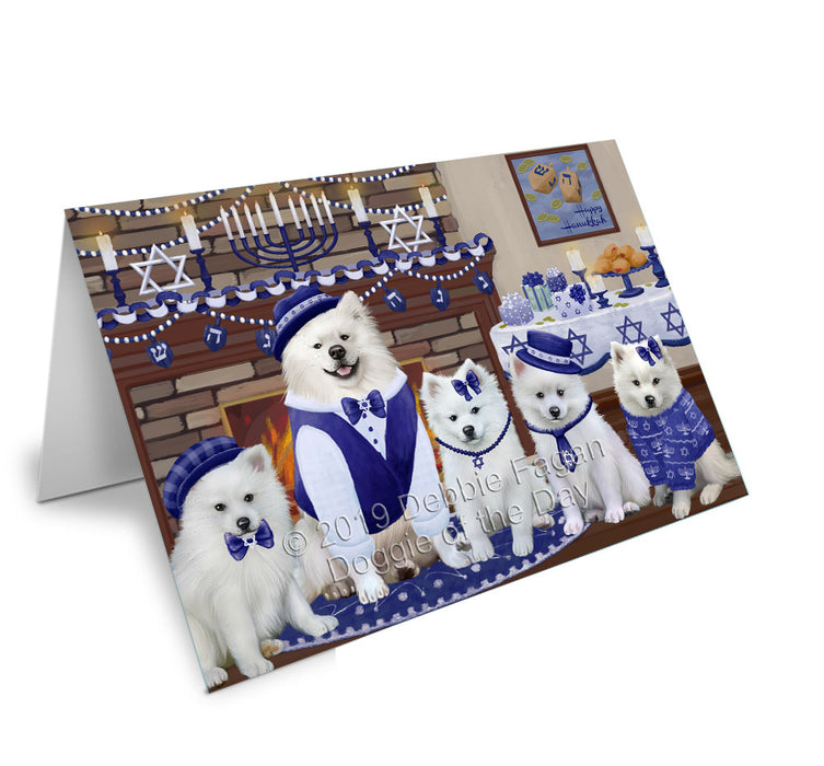 Happy Hanukkah Family American Eskimo Dogs Greeting Card GCD78092