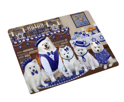"Happy Hanukkah Family and Happy Hanukkah Both American Eskimo Dogs Magnet MAG77545 (Mini 3.5"" x 2"")"