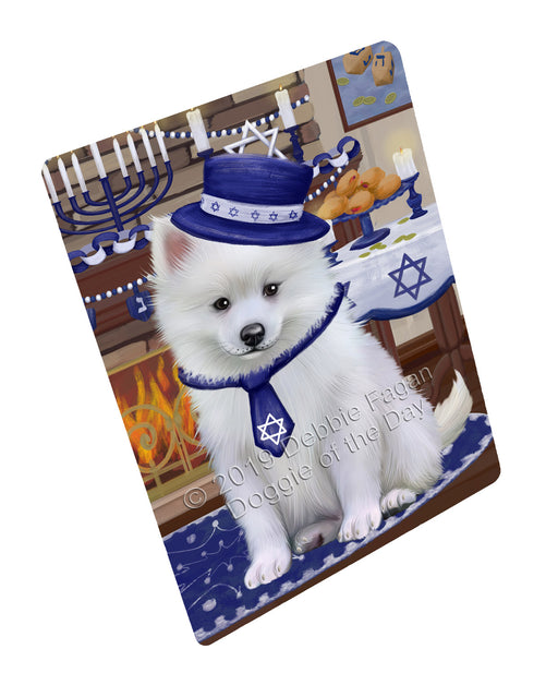 "Happy Hanukkah Family and Happy Hanukkah Both American Eskimo Dog Magnet MAG77377 (Mini 3.5"" x 2"")"