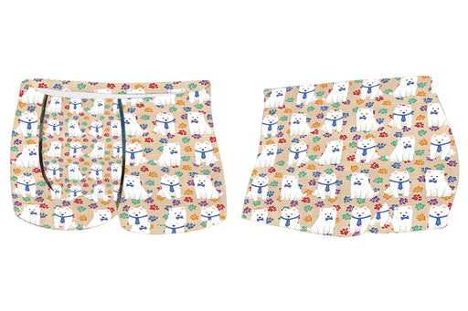 Rainbow Paw Print American Eskimo Dogs BlueMen's All Over Print Boxer Briefs