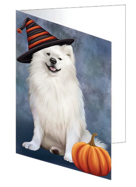 Happy Halloween American Eskimo Dog Wearing Witch Hat with Pumpkin Note Card NCD68774