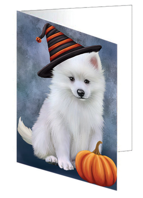 Happy Halloween American Eskimo Dog Wearing Witch Hat with Pumpkin Note Card NCD68777