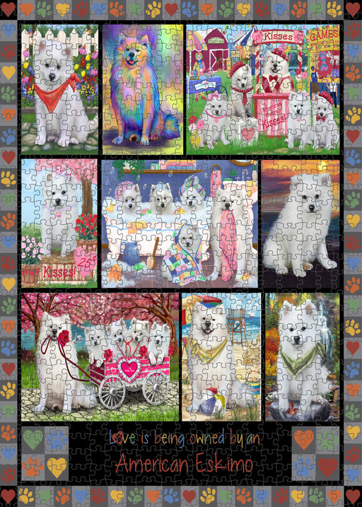 Love is Being Owned American Eskimo Dog Grey Puzzle with Photo Tin PUZL98176