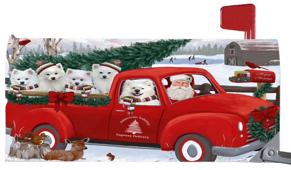 Magnetic Mailbox Cover Christmas Santa Express Delivery American Eskimos Dog MBC48283