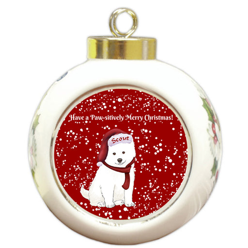 Custom Personalized Pawsitively American Eskimo Dog Merry Christmas Round Ball Ornament