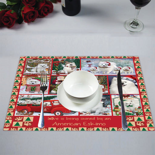 Love is Being Owned Christmas American Eskimo Dogs Placemat