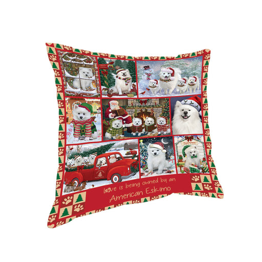 Love is Being Owned Christmas American Eskimo Dogs Pillow PIL85616