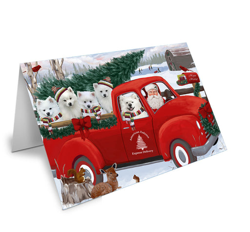 Christmas Santa Express Delivery American Eskimos Dog Family Note Card NCD68828