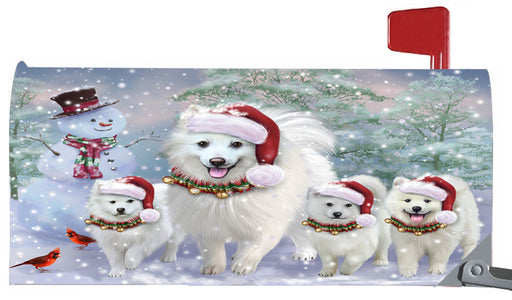 Magnetic Mailbox Cover Christmas Running Family American Eskimos Dogs MBC48270