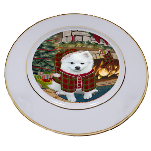 The Stocking was Hung American Eskimo Dog Porcelain Plate PLT53509
