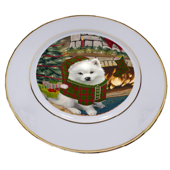 The Stocking was Hung American Eskimo Dog Porcelain Plate PLT53510