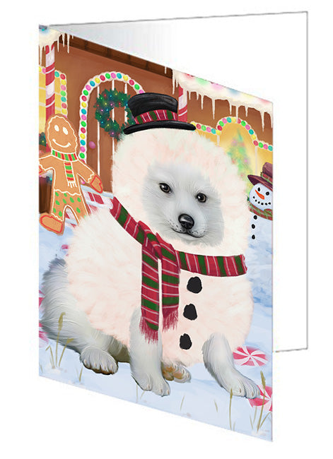 Christmas Gingerbread House Candyfest American Eskimo Dog Note Card NCD72917