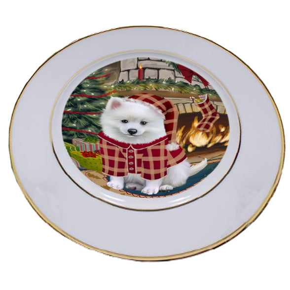 The Stocking was Hung American Eskimo Dog Porcelain Plate PLT53511