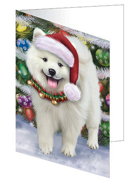Trotting in the Snow American Eskimo Dog Note Card NCD68087