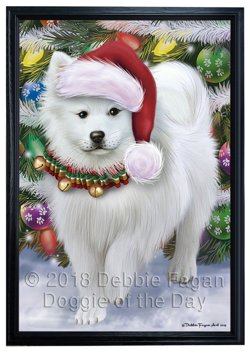 Trotting in the Snow American Eskimo Dog Framed Canvas Print Wall Art FCVS161679