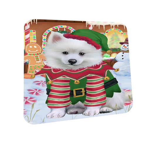 Christmas Gingerbread House Candyfest American Eskimo Dog Coasters Set of 4 CST56094
