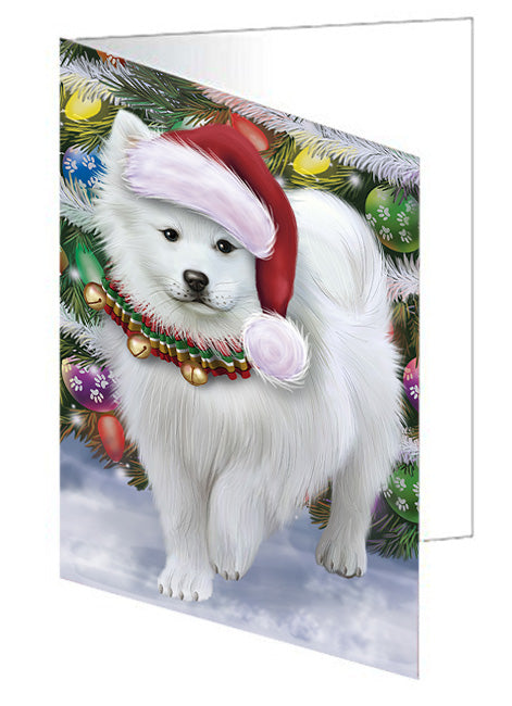 Trotting in the Snow American Eskimo Dog Note Card NCD68090