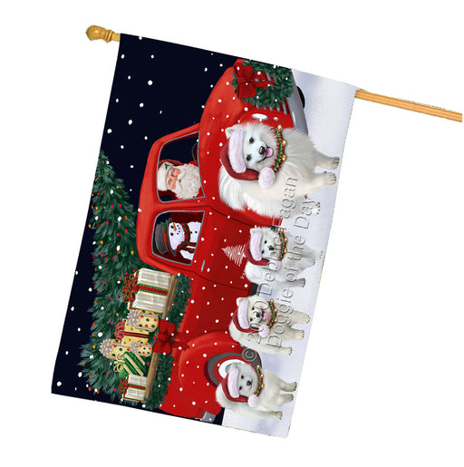 Christmas Express Delivery Red Truck Running American Eskimo Dogs House Flag FLG66490
