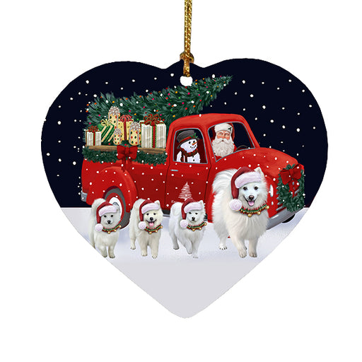 Christmas Express Delivery Red Truck Running American Eskimo Dogs Heart Christmas Ornament RFPOR58061