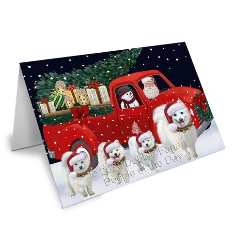 Christmas Express Delivery Red Truck Running American Eskimo Dogs Greeting Card GCD75044