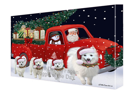 Christmas Express Delivery Red Truck Running American Eskimo Dogs Canvas Print Wall Art Décor CVS145808