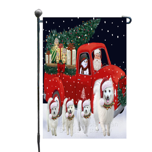 Christmas Express Delivery Red Truck Running American Eskimo Dogs Garden Flag GFLG66434