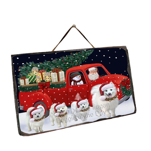 Christmas Express Delivery Red Truck Running American Eskimo Dogs Wall Décor Hanging Photo Slate SLTH58129