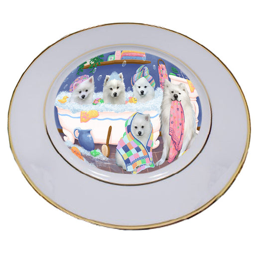 Rub A Dub Dogs In A Tub American Eskimos Dog Porcelain Plate PLT55101