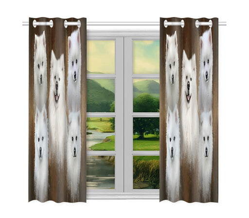 Rustic American Eskimo Dogs Window Curtain
