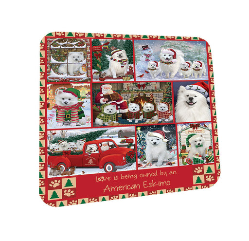 Love is Being Owned Christmas American Eskimo Dogs Coasters Set of 4 CST57147