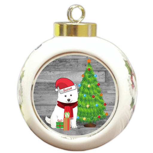 Custom Personalized American Eskimo Dog With Tree and Presents Christmas Round Ball Ornament