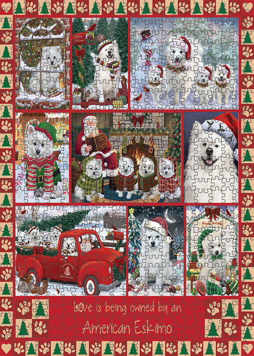 Love is Being Owned Christmas American Eskimo Dogs Puzzle with Photo Tin PUZL99232