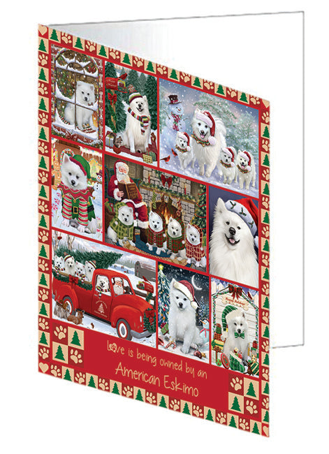 Love is Being Owned Christmas American Eskimo Dogs Greeting Card GCD78794