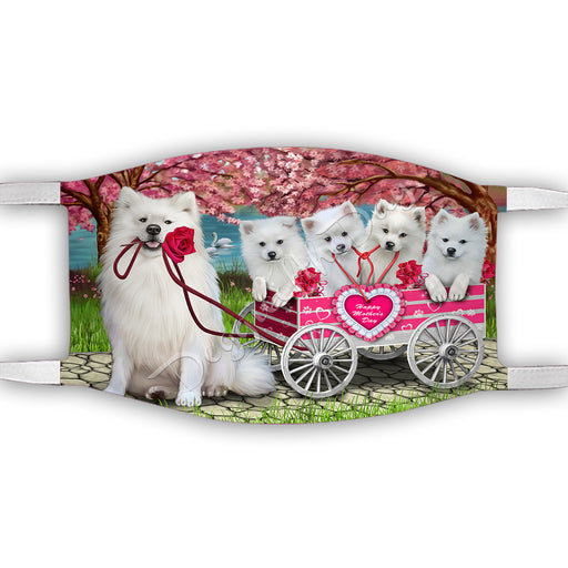 I Love American Eskimo Dogs in a Cart Face Mask FM48107