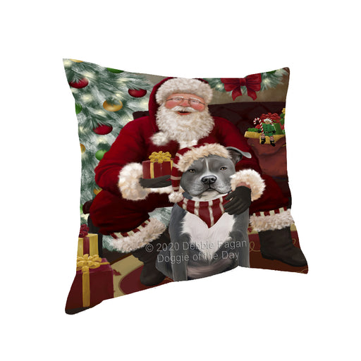 Santa's Christmas Surprise American Staffordshire Dog Pillow PIL87064