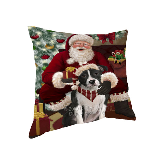 Santa's Christmas Surprise American Staffordshire Dog Pillow PIL87068