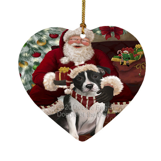 Santa's Christmas Surprise American Staffordshire Dog Heart Christmas Ornament RFPOR58338