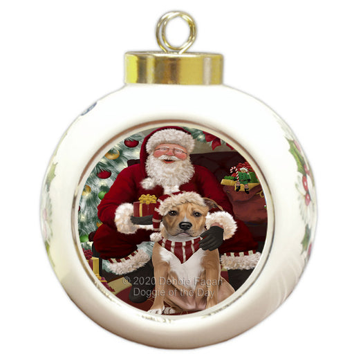 Santa's Christmas Surprise American Staffordshire Dog Round Ball Christmas Ornament RBPOR57997
