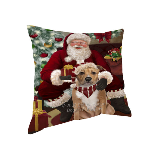 Santa's Christmas Surprise American Staffordshire Dog Pillow PIL87072
