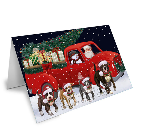 Christmas Express Delivery Red Truck Running American Staffordshire Dogs Greeting Card GCD75047