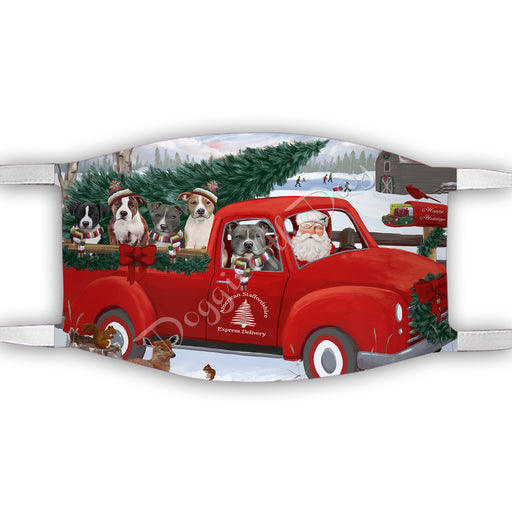 Christmas Santa Express Delivery Red Truck American Staffordshire Dogs Face Mask FM48402