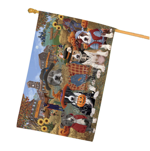 Halloween Round Town And Fall Pumpking Scarecrow Both American Staffordshire Dogs Garden Flag GFLG65561